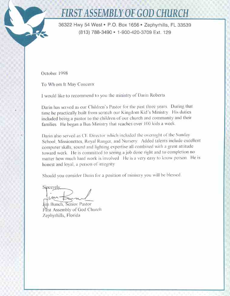 pastor bunch letter of recommendation